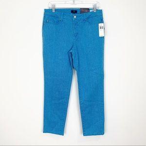 NYDJ Blue Snake Skin Straight Leg Pants Size 8P